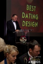 Nick Tsinonis announcing the Best Dating Design at the 2013 Las Vegas iDate Awards