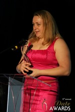 Anna Foster of eRomance (Winner of Best Up and Coming Dating Site) at the 2014 iDateAwards Ceremony in Las Vegas